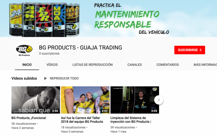 Nuevo canal de Youtube de BG Products